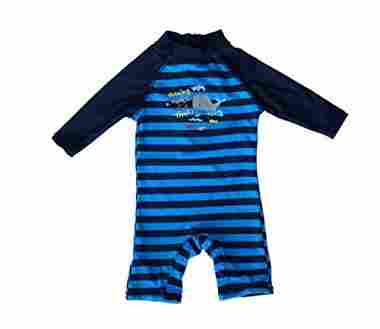 Striped onesie for sun protection.