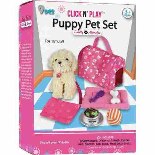 Click N Play 9 Piece Doll Puppy Set