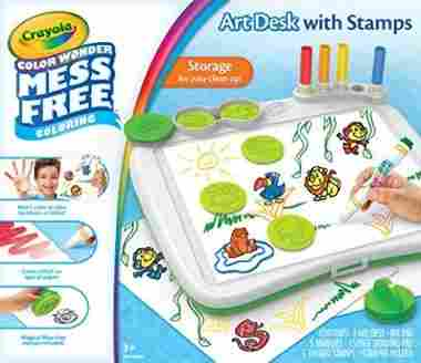 Crayola Color Wonder Mess-Free Art Desk with Stamps, Coloring Board