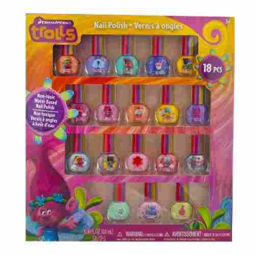 Deluxe Set Nail Polish for Kids with Glitter dreamworks trolls polish set