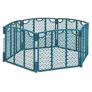 A multi-panel, versatile gate in Teal for a safe and secure play zone.