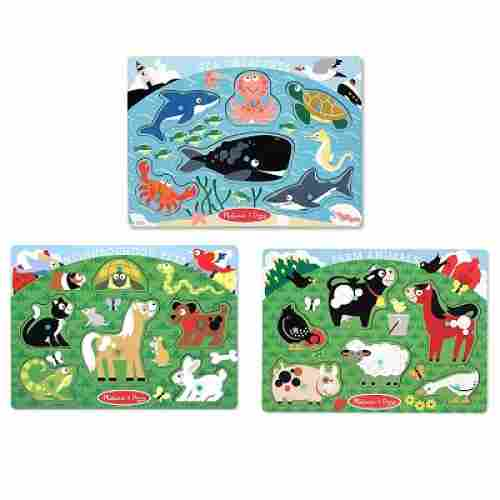 melissa & doug peg set wooden puzzle