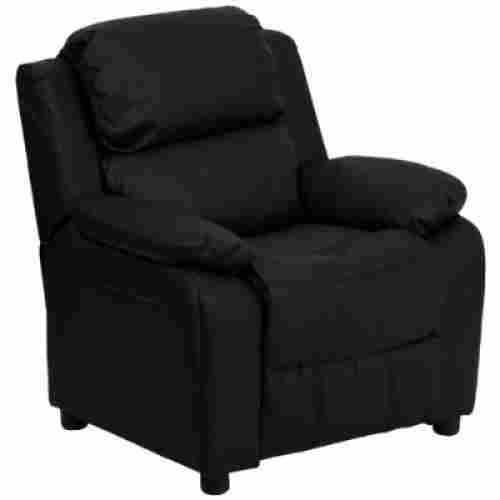 Deluxe Padded Contemporary Black Leather with Storage Arms