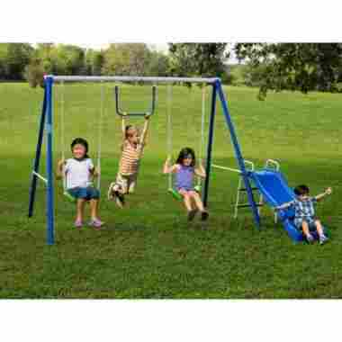 Children having fun on a metal swing set, complete with monkey bar and slide.
