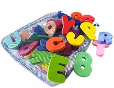 36-Piece Bath Letters and Numbers with Toy Organizer