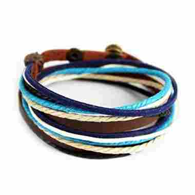 Furuida Genuine Leather Cuff Wrap Bracelet (Multicolor-2)