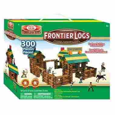 Frontier Logs 300 Piece Classic Wood Construction Set with Action Figures by Ideal
