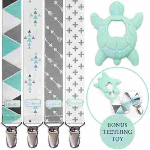 Liname 4-Pack Pacifier Clips
