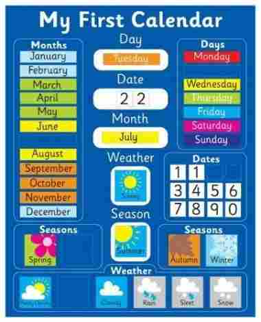 Magnetic My First Learning Calendar - Blue