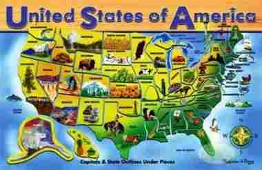 USA Map Wooden Puzzle