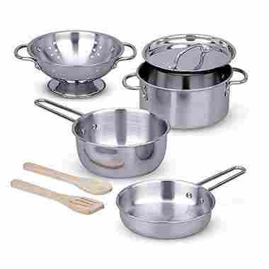 Stainless Steel Pots and Pans Pretend Play Kitchen Set