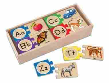 Self-Correcting Alphabet Wooden Puzzles With Storage Box by Melissa & Doug