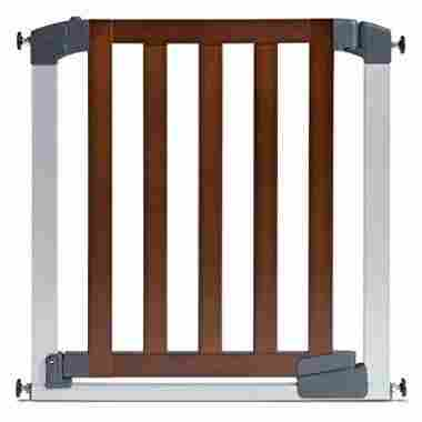 A sturdy wood and metal gate with, adjustable, pressured mounted technology.