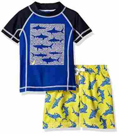 Fun, two-piece swimsuit with sharks.