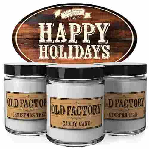 Old Factory Happy Holidays Set of 3