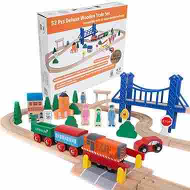 Deluxe Wooden Train Set with 3 Destinations