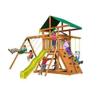 An everything swing set with a slide, climbing wall, and secret hideout.