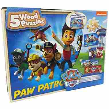 5 Paw Patrol Puzzles with Storage Box