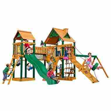 This massive play-set comes with swings, rock wall, a slide, and much more.