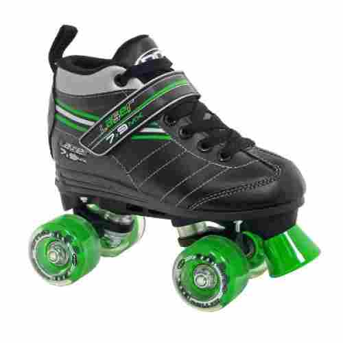 boy's laser speed quad roller skates for kids black and green