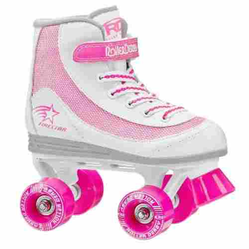roller derby 1978-01 firestar roller skates for kids pink and white
