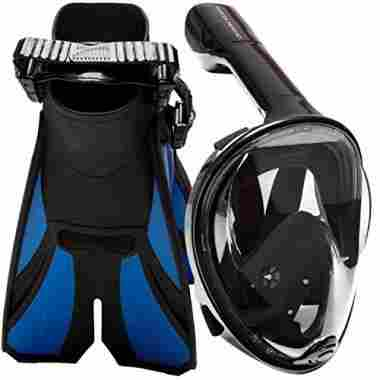 Panoramic View Full Face Snorkel Mask and Open Heel Snorkel Fins