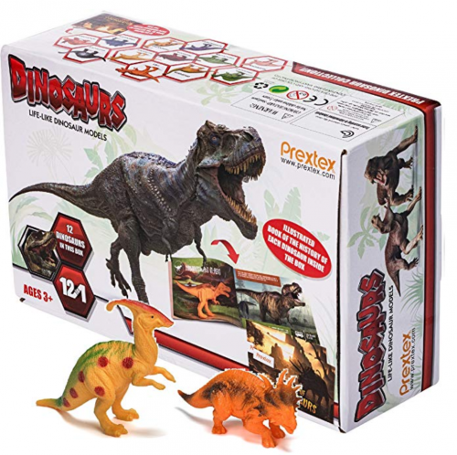 pretex realistic pack of 12 dinosaur toys for kids box