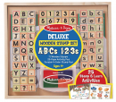 Melissa & Doug Deluxe Letters and Numbers Wooden Stamp Set ABCs 123s With Activity Book
