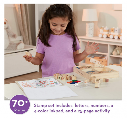 Melissa & Doug Deluxe Letters and Numbers Wooden Stamp Set ABCs 123s With Activity Book 2