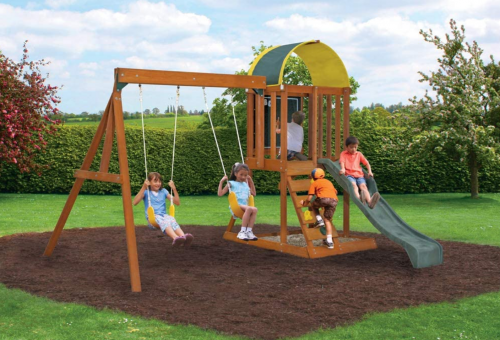 Big Backyard KidKraft Andorra Cedar Wood Swing Set 2