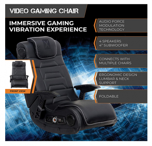 X Rocker Pro Series H3 Black Leather Vibrating Gaming Chair specs