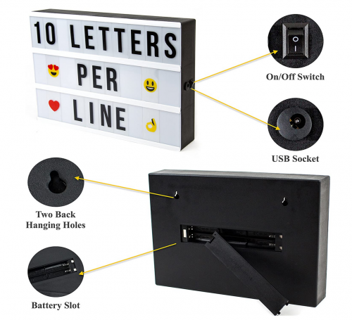 Cinema Light Box with Letters specs