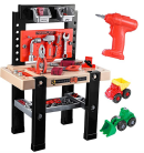 iBase Toy Kids Tool Bench, 91 Pieces Toy Workbench with Electric Drill, Construction Toy Vehicles, and Storage Space, Toddler Tool Bench