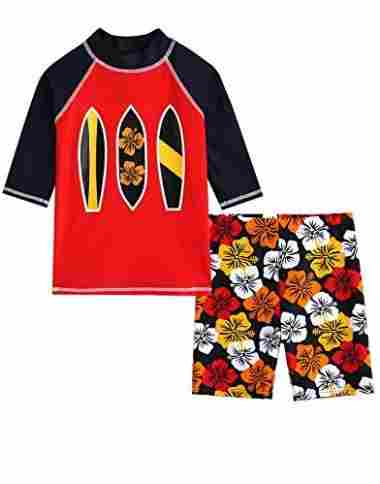 Matching set of swim-trunks and shirt in red.