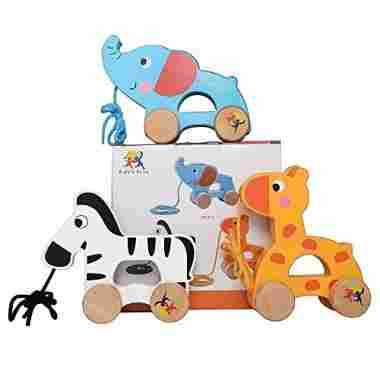 Wooden Pull Along Toy Set Of 3